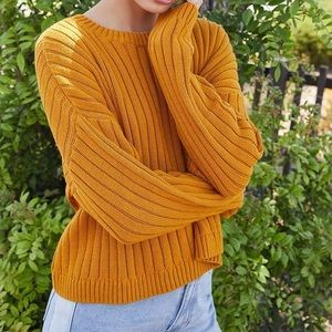 La Hearts Orange Chunky Ribbed Sweater